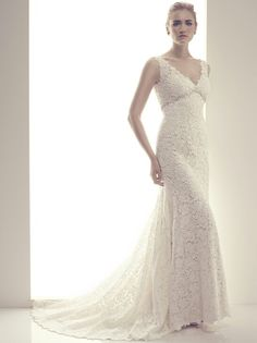 GORGEOUS Sleeveless Guipure Lace Empire Waist Silhouette Bridal Gown Featuring: Stunning V Neckline, & Embellished Empire Waist Bodice; Casablanca Couture Volume VI