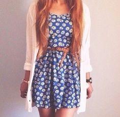 Blue daisy dress with belt | The secret inspirer