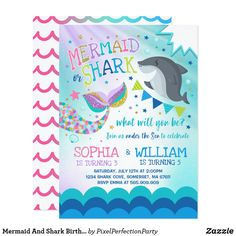 Mermaid And Shark Birthday Invitation Pool Party - invitations personalize custom special event invitation idea style party card cards Combined Birthday Parties, Sibling Birthday Parties, Joint Birthday Parties, Girl Parties, Theme Parties, Free Printable Birthday Invitations, Birthday Party Invitations, Birthday Party Themes, Birthday Ideas