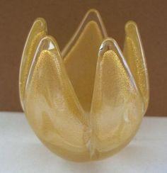 small Fine ARCHIMEDE SEGUSO Glass TULIP Vase MURANO Mid Century GOLD DUST Modern