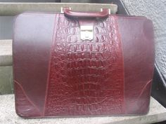 Michael Bianco Vintage Burgundy Crocodile and Leather Briefcase #MichaelBianco #BriefcaseAttache