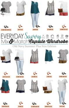 Check out this fun Old Navy Plus Size Capsule Wardrobe for summer. It includes colored shorts, cute tees and even a fringe crossover bag!