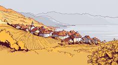 Amazing Lavaux landscape by Swiss illustrator Pierre-Abraham Rochat Comics Illustration, Landscape Illustration, Illustrations, Fantasy Landscape, Landscape Art, Fantasy Art, Cartoon Background, Art Background, Art Sketches