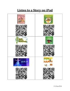 Students can use the iPad to listen to a few stories by scanning the QR code.  Download the app: QR Reader, and students can learn to scan the QR code independently.  I've included a few favourite fairy tales and songs, which are linked directly to the YouTube video.