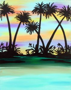 """""""Chromatic Sunset"""" is the perfect painting for a warm summer evening. Just imagine yourself sitting on the beach with a refreshing mai tai and the cool breeze blowing in. This painting will be sure to brighten the mood in your home."""