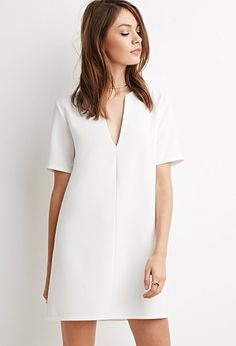 Make length longer V-Neck Crepe Shift Dress | Forever 21 - 2000141059