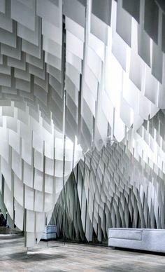 wave like structure example Fabric Installation, Artistic Installation, Interior Inspiration, Design Inspiration, Interior Architecture, Interior Design, Displays, Parametric Design, Restaurants