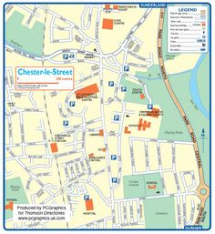 Map of Chester le Street created in 2011 for Thomson Directories. One of approximately 350 UK town and city maps produced royalty free. Find out more...  http://www.pcgraphics.uk.com   or read our blog...    http://www.pcgraphics.uk.com/blog/