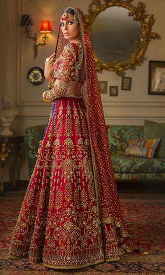 Zardozi and beads embroidered Deep Red Wedding Lehenga – Panache Haute Couture Wedding Lehenga Designs, Designer Bridal Lehenga, Indian Bridal Lehenga, Indian Bridal Outfits, Indian Bridal Fashion, Indian Bridal Wear, Indian Designer Outfits, Pakistani Bridal, Red Lehenga