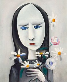 An image of Angry young girl by Charles Blackman 1958 oil on canvas.Could also be Peter Gabriel. Australian Painting, Australian Artists, Alice In Wonderland Series, Buy Prints Online, Peter Gabriel, Girls With Flowers, Unusual Art, Artist Art, Female Art