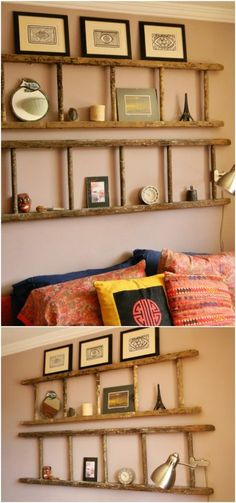 40 Wooden Ladder Repurposing Ideas That Add Farmhouse Charm To Your Home - Ladders. - 40 Wooden Ladder Repurposing Ideas That Add Farmhouse Charm To Your Home - Wooden Ladder Decor, Old Wood Ladder, Wooden Ladders, Wooden House Decoration, Antique Ladder, Vintage Ladder, Diy Home Decor Rustic, Diy Bedroom Decor, Country Decor