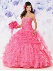 Wonderful beaded and ruffule organza quinceanera dress 2014 STYLE MQ-09