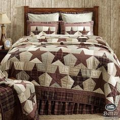 Red Brown Grey Plaid Primitive Star Rustic Western Country Quilt Bedding Bed Set #VhcBrands #RusticPrimitive