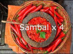 Pisang Susu's Sambal x 4 - Indonesian Chili Salsas Cooking Videos, Cooking Recipes, Sambal Recipe, Sambal Oelek, Asian Recipes, Ethnic Recipes, Herb Butter, Indonesian Food, Chili