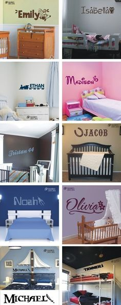"""Vinyl Wall Decal Sticker  Personalized by ModernDecals, $7.00. I like the """"Michael"""" pirate ship bed headboard (If we have 2 boys)"""