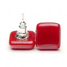 Piros kocka fülbevaló #panyizsuzsi