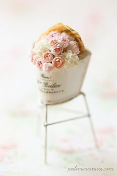 1:12 scale soft pink bouquet