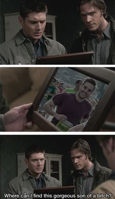haha (: this kinda makes me think that Ridiculously Photogenic Guy is actually a demon or monster that Sam & Dean are hunting lol