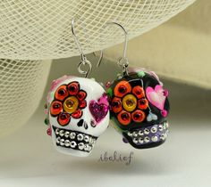 Skull in a-day is the day of the dead skulls black and white earrings stone ES0081 on Etsy, $24.90