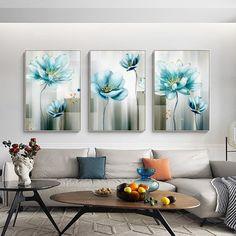 Flower Painting Canvas, Blue Painting, Flower Canvas, Painting Frames, Wall Art Sets, Wall Art Decor, Art Pour Salon, Images D'art, Gold Wall Art