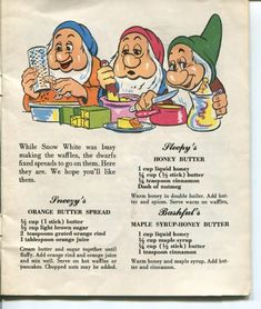 3 Flavored Butter Recipes From the 1955 Walt Disney Snow White Dairy Recipe Book American Dairy Association Retro Recipes, Old Recipes, Vintage Recipes, Cookbook Recipes, Cooking Recipes, Disney Food Recipes, Disney Desserts, Disney Dishes, Kids Cookbook