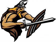 Viking Norseman Mascot Stabbing with Sword and Shield Image Stock Photo - 10780334