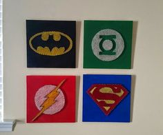 heART of Sarah: STRING ART superhero, batman, superman, green lantern, flash