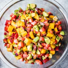 Bright and flavorful Avocado Strawberry Mango Salsa for dipping chips or adding to salads, tacos, fish, or chicken! This new take on salsa has hints of sweetnes Healthy Food Recipes, Mexican Food Recipes, Healthy Snacks, Vegan Recipes, Cooking Recipes, Healthy Party Foods, Cooking Tips, Strawberry Mango Salsa, Fruit Salsa