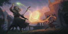 Mage Duel - Nature and Destruction by Gjaldir.deviantart.com on @DeviantArt