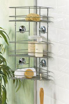 Next Suction 3 Tier Bathroom Shower Shelves - Chrome Shelves, Hanging Hooks, Organizing Your Home, Storage Caddy, Shower Shelves, Bathroom Shower, Bathroom Shelving Unit, Chrome, Storage Unit