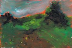 """Green Hill Dawn"" small original watermedia by Sharon Giles"