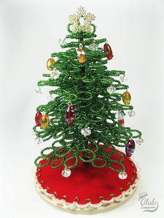 Beaded Tree Miniature Christmas Tree / Tabletop By AlulaCreations