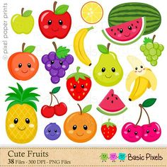 Fruits Clipart  Digital Clip Art  Fruit  Personal por basicpixels