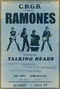 "therealhollywoodbandit: "" THE RAMONES 1975 C.B New York 3 dollars to see the Ramones, Talking Heads & Blondie on the they were famous. It says ''introducing''Talking Heads enough said. Ramones, Tour Posters, Band Posters, Retro Posters, Movie Posters, Pop Rock, Rock N Roll, Cbgb New York, Rock Music"