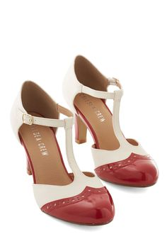 crimson and ivory T-straps by Chelsea Crew #modcloth