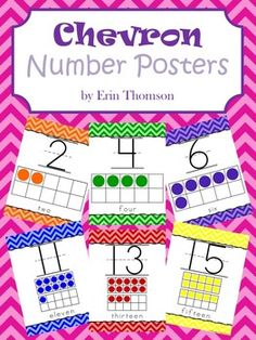 This packet contains number posters with 10 frame pictures and words. Includes numbers 0-20 and a sheet containing images of all the number posters.Click the link for my FREE Rainbow Chevron Alphabet Posters ********************************************************************** STAY CONNECTED!