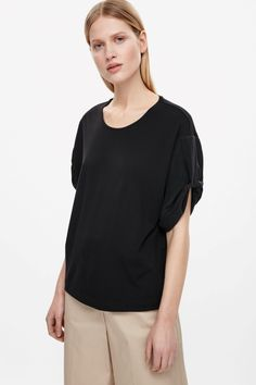 COS image 2 of Boxy top with gathered sleeve in Black