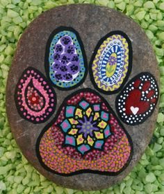 Paw Print Mandala Painted Rock by JustNaturalElements on Etsy
