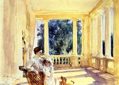 huariqueje:    Mrs. Ralph Curtis with her daughter, Sylvia  -  John Singer Sargent 1902 American 1856-1925 Watercolour  on paper 34.3 x 49.5 cm Private Collection