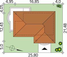 Dom parterowy przeznaczony dla 3-osobowej rodziny. Na parterze, oprócz części dziennej i sypialni, zaprojektowano spiżarnię, sporą kotłownię oraz wc/pralnię. Cechą charakterystyczną projektu są duże zadaszone tarasy, które w połączeniu z prostą bryłą dają ciekawy efekt wizualny. Jest to dom energooszczędny, zaprojektowany z myślą o poszanowaniu energii oraz zredukowaniu kosztów utrzymania domu.