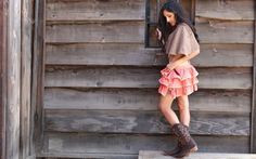 Cowgirl In A Skirt.. - fun, style, women, brunettes, female, cowgirl, boots, skirt, outdoors, models, fashion, western, girls, ranch