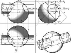 casi d'intersezione tra superfici di rotazione Tra sfera e cilindro= quartica digrammica   http://www.academia.edu/4226870/Intersection_Cases_between_Surfaces_of_revolution