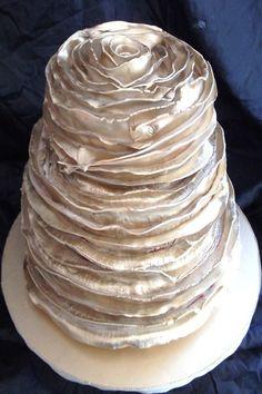 Gold metallic ruffle wedding cake