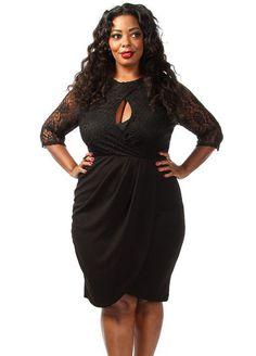 Plus Size Laced Keyhole Drape Dress - PinkClubwear - 1 5501aefc6f07