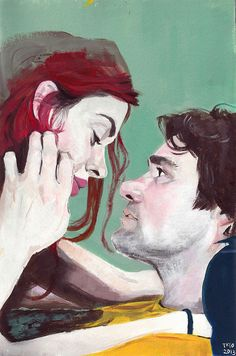 """Based on a still from the movie """"Eternal Sunshine of the Spotless Mind"""". Acrylic on watercolor paper. Meet Me In Montauk, Poster Minimalista, Eternal Sunshine, Green Art, Film Posters, Amazing Art, Art Drawings, Fanart, Illustration Art"""