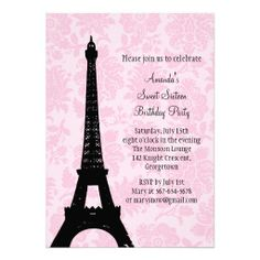 Purple Sweet Sweet Sixteen Eiffel Tower Custom Invitations - Birthday invitation cards tumblr