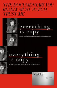 "Everything is a Copy is available on HBO and is a must-watch for screenwriting fanatics. ""Everything is Copy"" Nora Ephron Documentary. Big Fan of Nora Ephron. Nora Ephron's movies are the best. GirlBoss Badass Nora Ephron Quotes (scheduled via http://www.tailwindapp.com?utm_source=pinterest&utm_medium=twpin&utm_content=post59385932&utm_campaign=scheduler_attribution)"