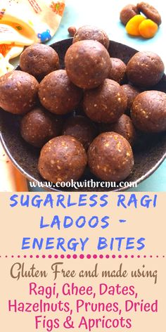 Sugarless Ragi Ladoos or Ragi Energy Bites is a quick and easy snack recipe loaded with essential nutrients and must during winters. Vegetarian Platter, Vegetarian Recipes, Snack Recipes, Healthy Recipes, Organic Recipes, Indian Food Recipes, Indian Desserts, Indian Sweets, Healthy Desserts