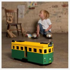 This Wooden Iconic Toy Tram, Is one our newet favorites. It even has little people inside, so cute..This  will keep your little ones happy for hours..:)