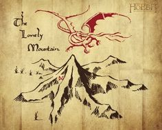 Tolkein's Drawing of Smaug and the Lonely Mountain. #Hobbit
